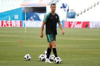Portugal's Cristiano Ronaldo a during training session. Photo: Reuters
