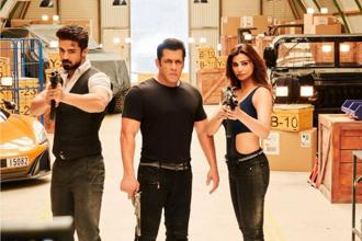 (From left) Saqib Saleem, Salman Khan and Daisy Shah in a still from 'Race 3'.