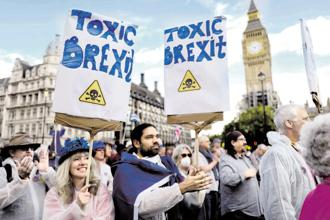 Philip Hensher's book 'The Friendly Ones' resonates with the social and political upheavals of contemporary Britain, such as the recent anti-Brexit protests. Photo: Reuters