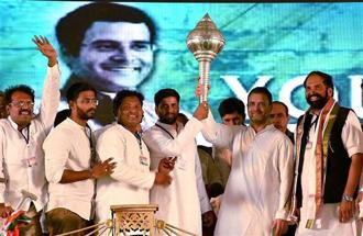 Congress president Rahul Gandhi during a public rally in Telangana. Photo: HT