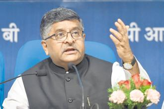 Law minister Ravi Shankar Prasad addresses a press conference on four years of NDA government in New Delhi on Monday. Photo: PTI