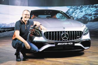 Mercedes AMG S 63 Coupé with Mercedes-Benz India VP (sales and marketing) Michael Jopp. Photo: PTI