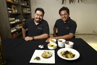Savor founder Kanu Gupta (right) with executive chef and partner Sushil Multani. Photo: Abhijit Bhatlekar/Mint