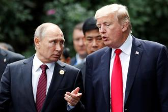 Russian President Vladimir Putin and US President Donald Trump. The fear is that Trump will conduct another slash-and-burn mission at the Nato summit in Brussels. Photo: Reuters