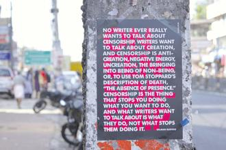 A StickLit poster with a quote by Salman Rushdie. Photo: Manoj Pande