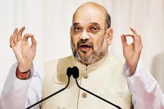 BJP chief Amit Shah said though many people sacrificed their lives during the freedom struggle, attempts were made to give credit for Independence to one party or a particular family. Photo: PTI