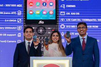 The JioPhone features a 2.4-inch QWVGA screen and is powered by a dual-core processor paired with 512MB of RAM and 4GB of built-in storage. (Photo: PTI)