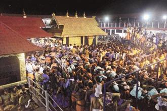 A file photo of devotees at the Sabarimala temple in Kerala. Photo: PTI