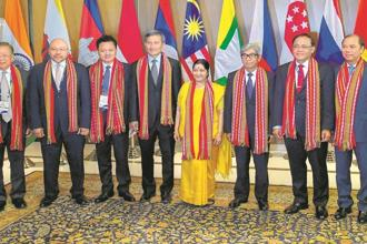 External affairs minister Sushma Swaraj (centre) with Asean leaders in New Delhi on Thursday. Photo: PTI