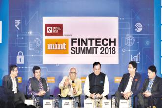 (From left to right) Suchintan Chatterjee, partner at Deloitte India; Sudin Baraokar, chief mentor of BankChain Alliance; Leslie D'Monte, national technology editor of Mint; Ritesh Pai, chief digital officer of Yes Bank; Bhavesh Gupta, CEO of Clix Capital Services; and Venkatesh Hariharan, director (fintech) at iSpirt, at the Mint Fintech Summit 2018 in Bengaluru.