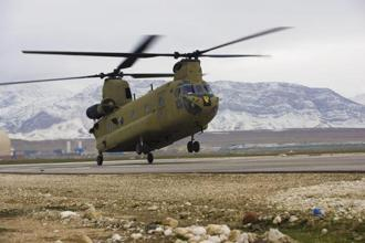 A CH-47F Chinook helicopter landing at Camp Marmal in Afghanistan's Mazar-e Sharif province. India is procuring 22 AH-64E Apache attack choppers and 15 CH-47F(I) Chinook heavy-lift helicopters from Boeing.