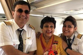 Air hostess Pooja Chinchankar on her last flight with her daughter and Air India's First officer Ashrrita Chinchankar