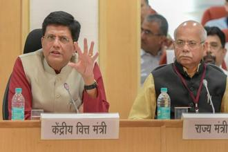 Finance Minister Piyush Goyal and MoS Finance Shiv Partap Shukla (right ) during the 29th GST Council meeting at Vigyan Bhawan in New Delhi on 4 August 2018. Photo: PTI