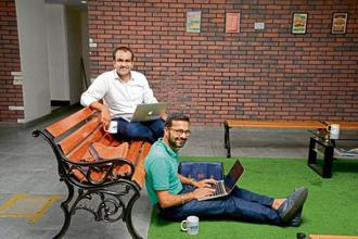 Aakrit Vaish (left) and Swapan Rajdev share a good understanding, which helps them run their company better. Photo: Abhijit Bhatlekar/Mint