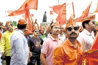 Maratha community protesters during a demonstration in Kolhapur on 2 August. Photo: Abhijit Bhatlekar/Mint