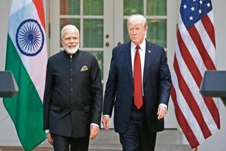 US President Donald Trump (R) arrives for a joint news conference with Indian Prime Minister Narendra Modi in the Rose Garden of the White House in Washington on 26 June, 2017. Photo: Reuters.