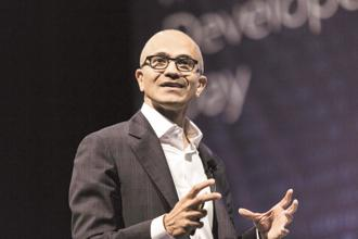 Microsoft CEO Satya Nadella, whose annual compensation is $20 million, sold 328,000 shares in multiple trades at prices ranging from $109.08 to $109.68. Photo: Bloomberg