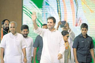 Congress chief Rahul Gandhi at a rally in Hyderabad on Monday.
