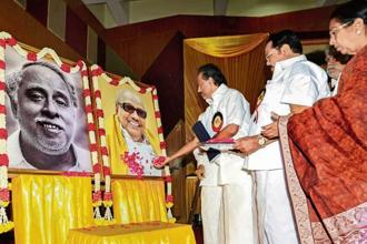 M.K. Stalin and other DMK leaders pay tribute to M. Karunanidhi in Chennai on Tuesday. PTI