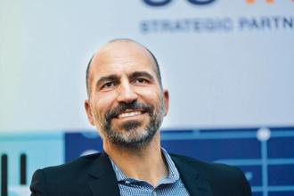 Uber chief executive Dara Khosrowshahi. He said Uber is investing in 'big bets', including Uber Eats, Express Pool, e-bikes and scooters.