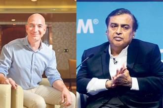 Amazon CEO and world's richest man, Jeff Bezos, and Reliance Industries chairman and India's richest man, Mukesh Ambani.