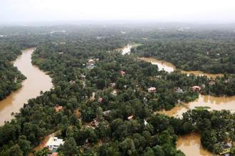 An areal view of one of the submerged areas in Kerala. Over 100 people died in rain-related incidents in the state in just one day on Thursday. Photo: Reuters.