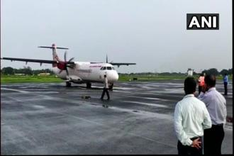 The first Air India flight from Bengaluru arrived at the Kochi naval airport today morning and returned by 0830 hours. Photo: Twitter/ANI