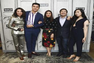 "Actors Michelle Yeoh, from left, Henry Golding, Constance Wu, Ken Jeong and Awkwafina participate in the BUILD Speaker Series to discuss the film ""Crazy Rich Asians"" at AOL Studios last week in New York. Photo: AP"