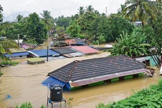 Kerala is reeling under the century's worst floods, after long heavy rains. Photo: PTI