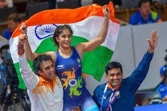 Phogat defeated Japan's Yuki Irie in the Women's Freestyle 50 kg gold medal match. Photo: PTI