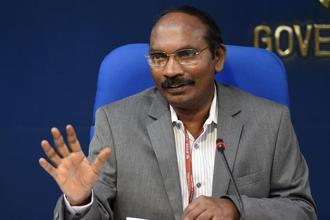 Isro chief K. Shivan  addressing a press conference in New Delhi on 28 August 2018. Photo: AFP