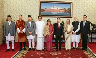 Prime Minister Narendra Modi with the leaders of the BIMSTEC nations.