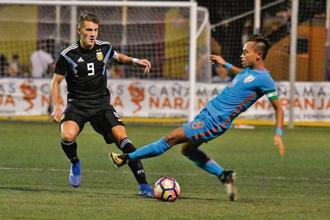 India U20 captain Amarjit Singh Kiyam vies for the ball with Argentina's Facundo Colidio during their Cotif match. Photo courtesy: AIFF