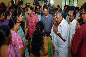 A file photo of Kerala Chief Minister Pinarayi Vijayan during a visit to a relief camp at Kozhencherry, in Pathanamthitta. Photo: PTI