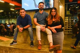 Glitch co-founders (from left) Rohit Raj and Varun Duggirala and CEO Pooja Jauhari at The Glitch office in Mumbai. Photo: Aniruddha Chowdhury/Mint
