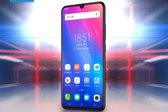 "The Vivo V11 Pro is lit by a 6.4-inch super AMOLED display with a ""teardrop notch"" with an in-display fingerprint scanner underneath it. Photo: Vivo India/Twitter"