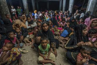 Rohingya refugees in a cyclone shelter, taken in 2017. Photo: Shahidul Alam