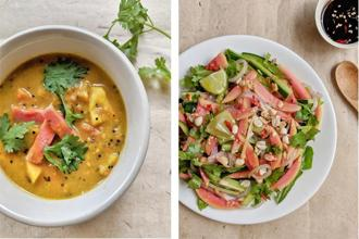 (left) Gujarati 'peru nu shaak'; and red guava salad. Photo: Nandita Iyer