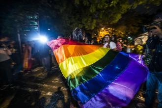 LGBTQ community supporters at Jantar Mantar in Delhi after the Supreme Court verdict on Section 377. Photo: Pradeep Gaur/Mint