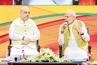 Prime Minister Narendra Modi and BJP president Amit Shah at the BJP national executive meeting in New Delhi on Sunday. Photo: PTI