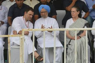 (From left) Congress president Rahul Gandhi, former prime minister Manmohan Singh and UPA president Sonia Ganhdi at the Bharat Bandh rally in New Delhi today. Photo: Ramesh Pathania/Mint