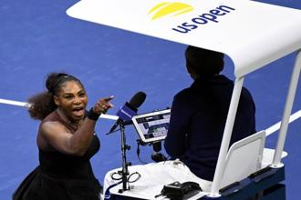 Serena Williams yells at chair umpire Carlos Ramos in the US Open women's final against Naomi Osaka of Japan, in New York on 8 September. Photo: Danielle Parhizkaran/USA Today Sports
