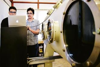 Inside the workshop of Bellatrix Aerospace Pvt. Ltd, a Bengaluru-based startup for space solutions. Photo: Jithendra M/Mint
