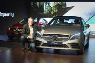 Mercedes-Benz India's vice president (sales & marketing) Michael Jopp at the launch of the C-Class facelift sedans C-300d, C-220d Prime and C-220d Progressive, in New Delhi, on Thursday. Photo: PTI