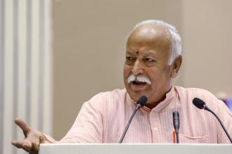 RSS chief Mohan Bhagwat knows his word is taken very seriously, so this time he has chosen to say it in Delhi, the political capital. Photo: PTI
