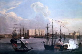 Samuel Scott's 'Ships In Bombay Harbour' (1731) with Bombay Castle on the right.
