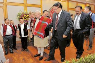 A file photo of Prime Minister Narendra Modi with NSCN (I-M) general secretary Thuingaleng Muivah at the signing of the Naga Accord. Photo: PTI