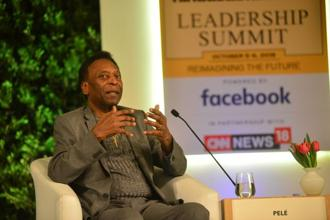 Pele at the Hindustan Time Leadership Summit on Friday. Photo: Ramesh Pathania/Mint