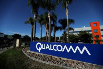 A sign on the Qualcomm campus is seen in San Diego, California, U.S. Photo: Reuters