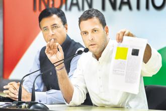 Rahul Gandhi demands probe against PM Narendra Modi in relation to the alleged scam in Rafale deal during a press conference at AICC HQ in New Delhi on 11 October 2018.  Photo: PTI